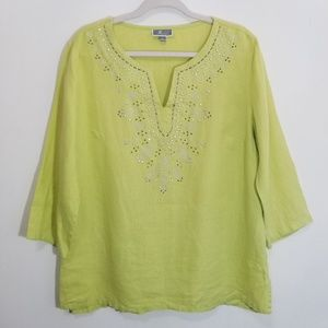 JM Collection Limeade Green Embellished Tunic Top